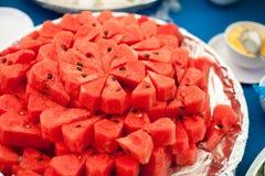 Melancia vermelha no prato Foto de Stock