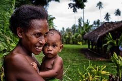 Melanesian mother and baby Royalty Free Stock Images