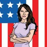 Melania Trump η πρώτη κυρία των ΗΠΑ Σημαία των Ηνωμένων Πολιτειών σημαιοστολίζει το υπόβαθρο Στοκ Εικόνα