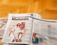 Melania Trump above international press Stock Image