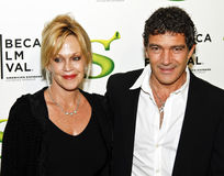 Melanie Griffith; Antonio Banderas. NEW YORK - APRIL 21: Actors Melanie Griffith and Antonio Banderas attend the Shrek Forever After premiere during the 2010 Royalty Free Stock Photos