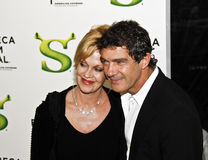 Melanie Griffith; Antonio Banderas. NEW YORK - APRIL 21: Actors Melanie Griffith and Antonio Banderas attend the Shrek Forever After premiere during the 2010 stock photos
