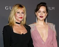 Melanie Griffith and Dakota Johnson. At the 2017 LACMA Art Film Gala held at the LACMA in Los Angeles, USA on November 4, 2017 Royalty Free Stock Photos