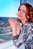 melankolisk kvinna Arkivfoton