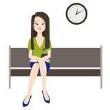 Melankolisk kvinnaväntan royaltyfri illustrationer