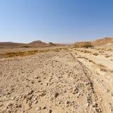 Melankoliskt och tomhet av öknen i Israel arkivfoto