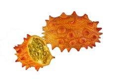 Melano, Kiwano, ή κερασφόρα φρούτα πεπονιών στοκ εικόνες