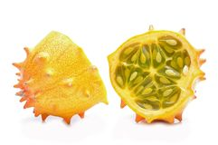 Melano or kiwano melon on white background Stock Photo