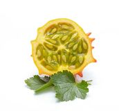 Melano or kiwano melon on white background Royalty Free Stock Image