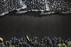 Melanocarpa van Aronia van Chokeberrybessen wordt ingepakt in vacuümzakken en zwarte bessen op donkere lijst royalty-vrije stock afbeeldingen