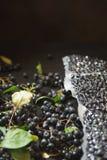Melanocarpa van Aronia van Chokeberrybessen wordt ingepakt in vacuümzakken en zwarte bessen op donkere lijst royalty-vrije stock foto's