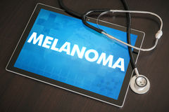 Melanoma (cancer type) diagnosis medical concept on tablet scree. N with stethoscope Stock Photos