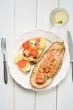 Melanzana al forno con le verdure e la carne Fotografia Stock
