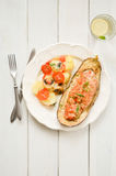 Melanzana al forno con le verdure e la carne Fotografie Stock Libere da Diritti