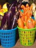 Melanzana e carote cinesi organiche Fotografia Stock