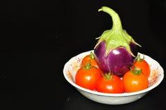 Melanzana e pomodori Immagini Stock Libere da Diritti