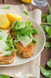 Melanzana impanata fritta con insalata immagine stock libera da diritti