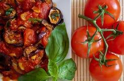 Melanzane in salsa di pomodori, particolare Immagini Stock