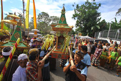 Melasti ceremony in Klaten. Hindus in Klaten, Central Java Indonesia are conducting ritual ceremonies melasti. Melasti is a purification ceremony to welcome stock photography