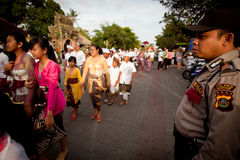 Melasti Ritual auf Bali-Insel Lizenzfreie Stockfotografie