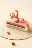 Melba - Eigentijdse Gelaagde Vanille, Framboos, de Cake van de Perzikmousse Stock Foto's