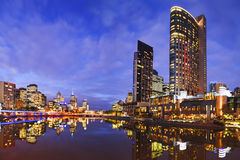 Melbourbe Skyline and Yarra River at Twilight Stock Image