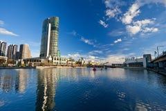 Melbourne. Winter in Melbourne, Skyscrapers on Yarra River Stock Photo