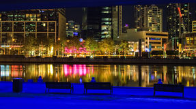 Melbourne. Downtown of Melbourne at night, Yarra river Royalty Free Stock Photography