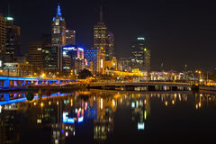 Melbourne. Downtown of Melbourne at night, Yarra river Royalty Free Stock Image