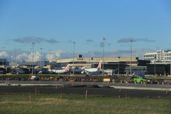 Melbourne Airport. Aeroplanes parked and Busy ground activities at Melbourne, Australia airport Royalty Free Stock Photography