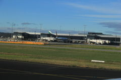 Melbourne Airport. Aeroplanes parked and Busy ground activities at Melbourne, Australia airport Stock Photos