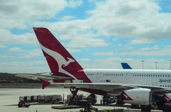 Melbourne airport-plane offloading at terminal Royalty Free Stock Images
