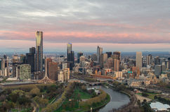 Melbourne all'alba Fotografie Stock
