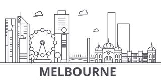 Melbourne architecture line skyline illustration. Linear vector cityscape with famous landmarks, city sights, design. Icons. Editable strokes stock illustration