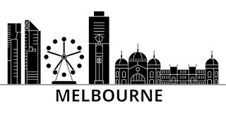 Melbourne architecture vector city skyline, travel cityscape with landmarks, buildings, isolated sights on background. Melbourne architecture vector city skyline Royalty Free Stock Image