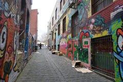 MELBOURNE, AUSTRÁLIA - 15 de agosto de 2017 - murales dos grafittis das pinturas de parede em ruas da cidade Fotografia de Stock Royalty Free