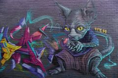 MELBOURNE, AUSTRALIË - AUGUSTUS 15 2017 - Muurschilderijengraffiti murales op stadsstraten stock foto