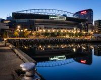 MELBOURNE, AUSTRALIË - 25 Augustus 2018: Reflectin van het Etihadstadion stock foto's