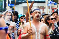 Invasion Day Australia Day Protests in Melbourne. MELBOURNE, AUSTRALIA – JANUARY 26: Indigenous rights protesters marching in the CBD during the Invasion Day Royalty Free Stock Photography