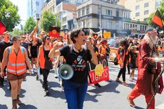 Invasion Day Australia Day Protests in Melbourne. MELBOURNE, AUSTRALIA – JANUARY 26: Indigenous rights protesters marching in the CBD during the Invasion Day Royalty Free Stock Image