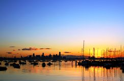 Melbourne, Australia. Melbourne skyline at dawn, viewed from Williamstown stock photography