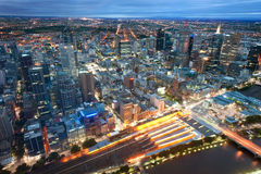 Melbourne, Australia. This image shows Melbourne, Australia at night stock image