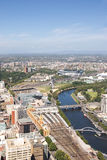 Melbourne, Australia. Melbourne from a birds-eye view, looking out towards the east stock photo