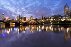 Melbourne Australia. Melbourne, Australia, viewed over the Yarra River at dusk Stock Images