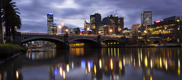 Melbourne Australia. Melbourne, Australia, viewed across the Yarra River towards Princes Bridge royalty free stock photo