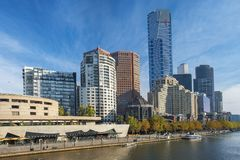 Southbank skyline and Yarra River, Melbourne, Australia Royalty Free Stock Photos