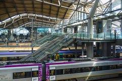 Melbourne, Australia - April 1, 2017: Escalators and stairs lead Stock Photo