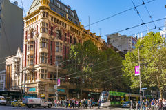 Melbourne citylife. People crossing Collins street Stock Photos
