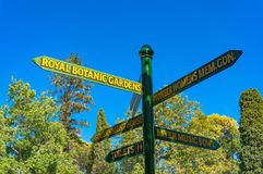 Direction sign in Melbourne Royal Botanic Gardens stock image