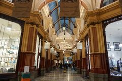 MELBOURNE, AUSTRALIA, AUGUST 16 2017 - Melbourne arcade galleries. MELBOURNE, AUSTRALIA, AUGUST 16 2017 - Arcade Gallery in Melbourne, the capital and most Stock Photos